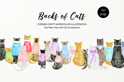 Watercolor Backs of Cats