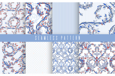 Pattern set nature bird