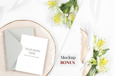 Card Mockup on plate with flowers. BONUS