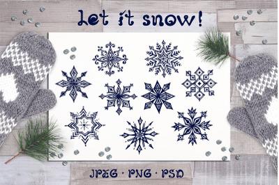 9 hand drawn Christmas snowflakes