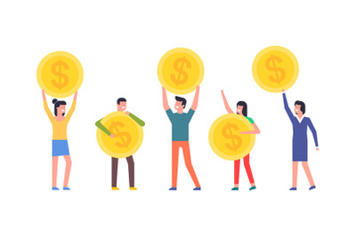 Happy people are holding Coins