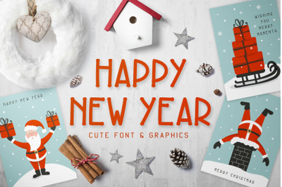 New Year Font and Graphics Pack