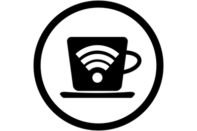 Cup of coffee with symbol wifi