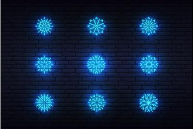 Snow neon vector icons