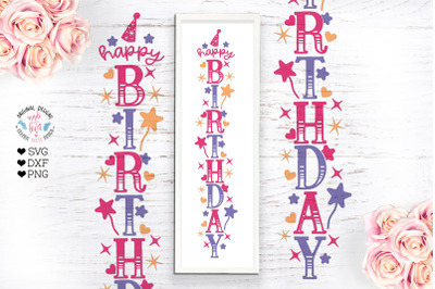 Happy Birthday Vertical SVG Sign - Birthday SVG