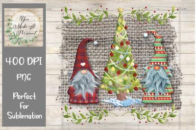 Christmas Gnomes on Burlap Background