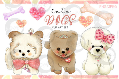 Cute Dogs | Designer Clip Art Set| PNG/JPEG Illustrations