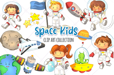 Space Kids Clip Art Collection