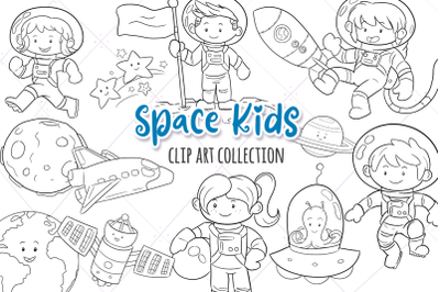 Space Kids Digital Stamps