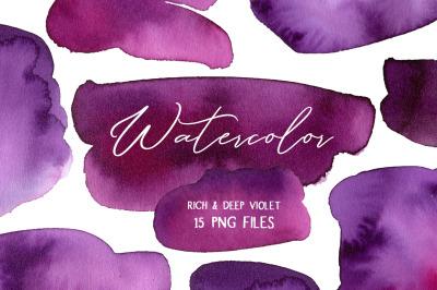 Violet Watercolor Spots Stains Splashes Paint PNG