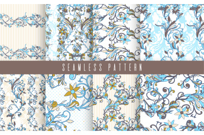 Seamless pattern set flower