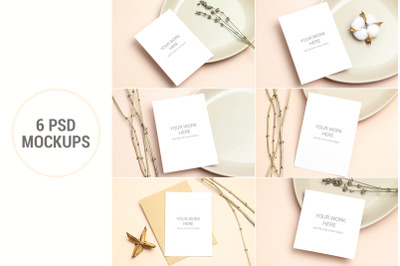 Mockups invitation cards pack. PSD with smart objects