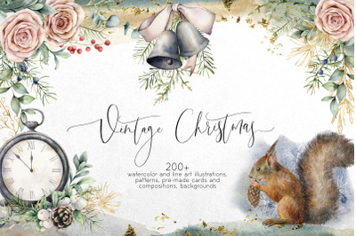 Vintage Christmas. Watercolor bundle