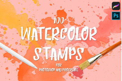 Procreate/Photoshop 100 Watercolor Stamp Brushes