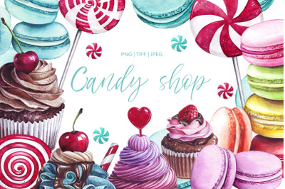 Watercolor Candy shop