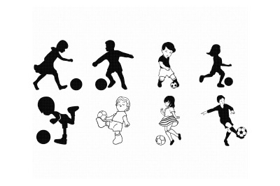 little boy and girl playing soccer, football svg, dxf, png, eps