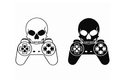 skull with video game controller svg, dxf, png, eps, cricut