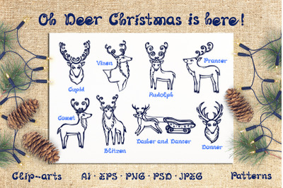 Christmas deer, patterns and cards