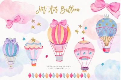 Hot Air Balloons Clipart Set, Balloons Watercolor Clipart,