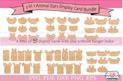 3 in 1 Animal Ears Hair Bow Snap Clip Headband Display Card Bundle, SV