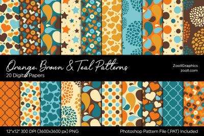 Orange, Brown & Teal Digital Papers