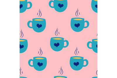 Doodle coffee cups, mugs seamless repeating pattern