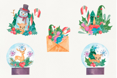 watercolor christmas compositions