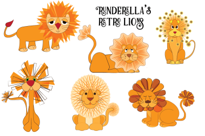 Retro Lions (Editable Vector Files)