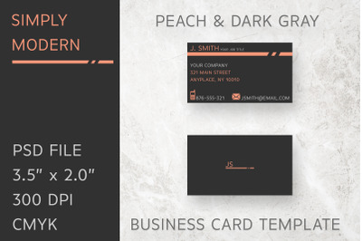 Simply Modern Peach Business Card Template