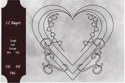 Lily of the Valley Monogram Frame&2C; Pen&2C; Foil&2C; Single line File