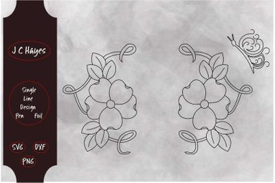 Dogwood Monogram Frame, Pen, Foil, Single Line File
