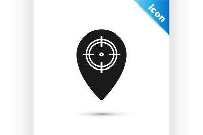 Black Hunt place icon isolated on white background. Navigation, pointe