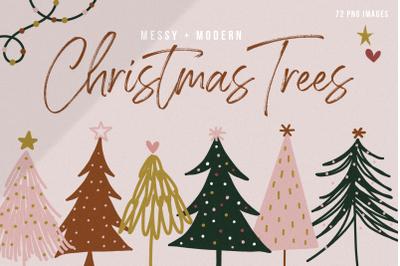 Modern & Messy Christmas Tree Illustrations - Clip Art