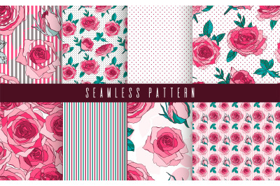 Pattern set flower rose