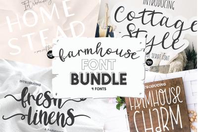 Rustic Farmhouse Font Bundle - 4 Fonts