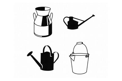 watering bucket, gardening svg, dxf, png, eps, cricut, silhouette