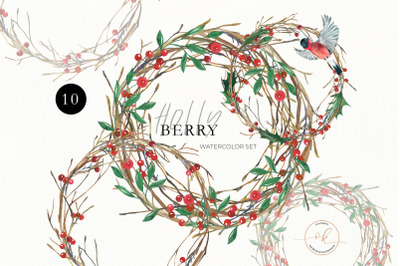 Christmas Watercolor Wreath, Poinsettia Holly Steams, Floral Clip Art