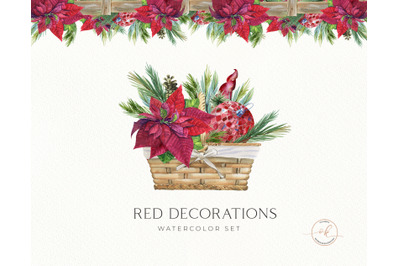Scarlet Red Flower Clipart, Red Poinsettia Bouquets, Christmas Waterco