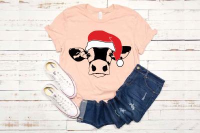 Cow Whit Christmas Hat SVG Farm heifer Santa Claus 1606s