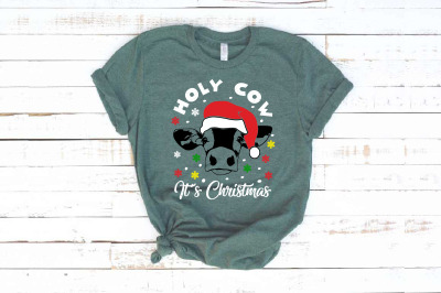 Holy cow it's Christmas Silhouette SVG Farm heifer Santa Claus props 1