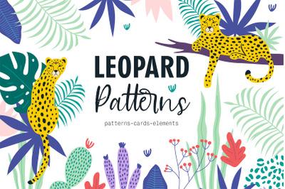 Leopard patterns & cards & clip arts