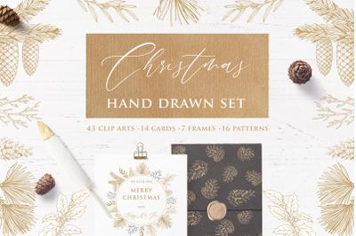 Christmas hand drawn set