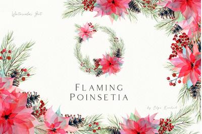Watercolor Christmas Poinsettia Set