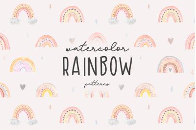 Watercolor Rainbow. Cute Patterns