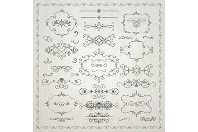 Black Hand Drawn Rustic Doodle Design Elements. Decorative Swirls, Scr