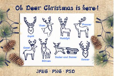 8 Hand drawn Christmas deer