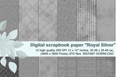 Royal Silver Textures, digital  Scrapbook Paper