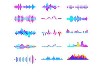 Colorful sound waves. Audio signal wave&2C; color gradient music waveform