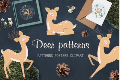 Deer patterns, posters, clipart