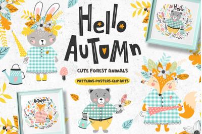 Hello autumn. Set forest animals
